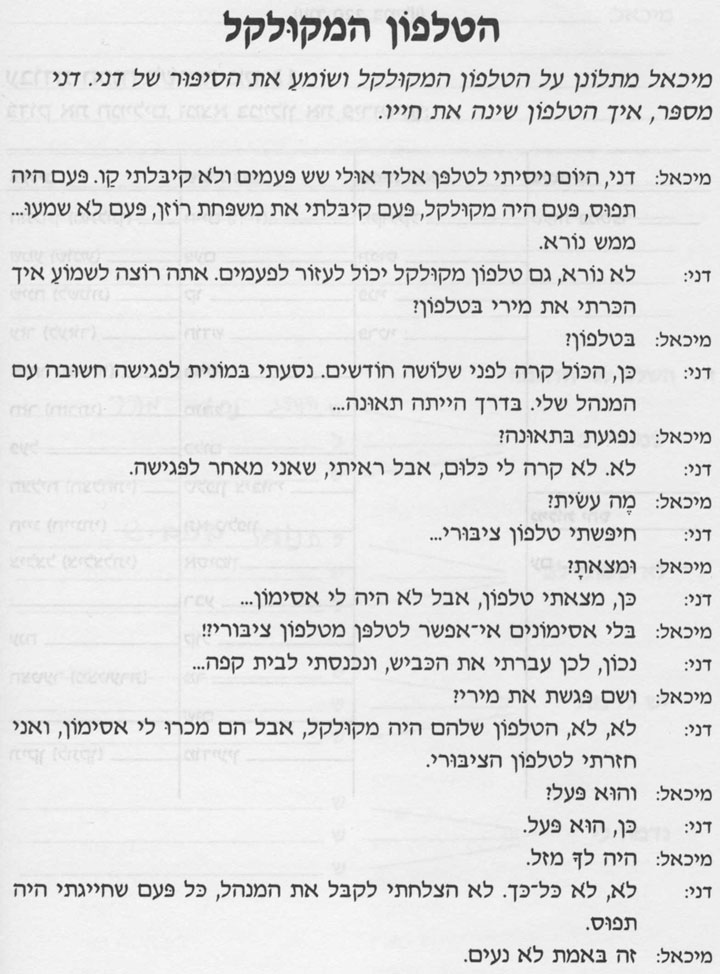 Разговорные темы иврита 12